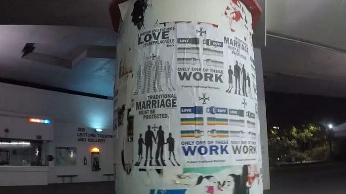 The Australian Traditional Nationalist Group Cover Brisbane with Traditional Marriage Posters